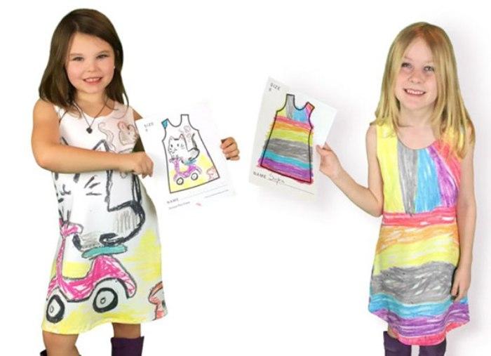 Девочки в платьях, созданных по их рисункам