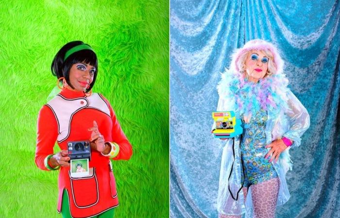 Яркие фотографии пожилых моделей с фотоаппаратом Polaroid.