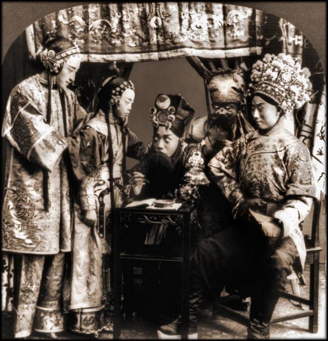 Актерская трупа Пекинской оперы. Неизвестное место снимка, 1919 г.