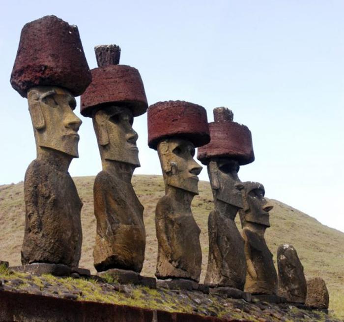 Статуи с красными головными уборами.