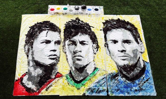 Портреты футболистов, нарисованные при помощи мяча