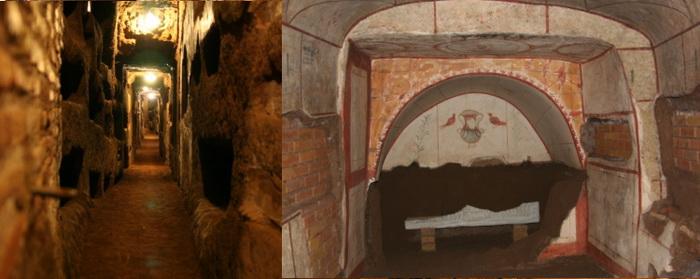 В катакомбах христиане располагали усыпальницы.