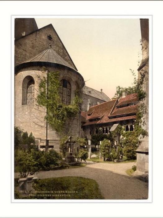 Старая открытка с изображением розы и собора. Выпущена около 1905 года.