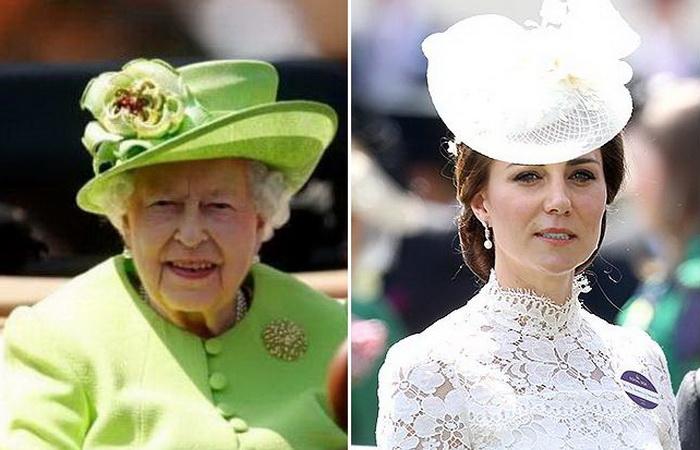 Королева Елизавета и Кейт Миддлтон на скачках в Аскоте-2017.