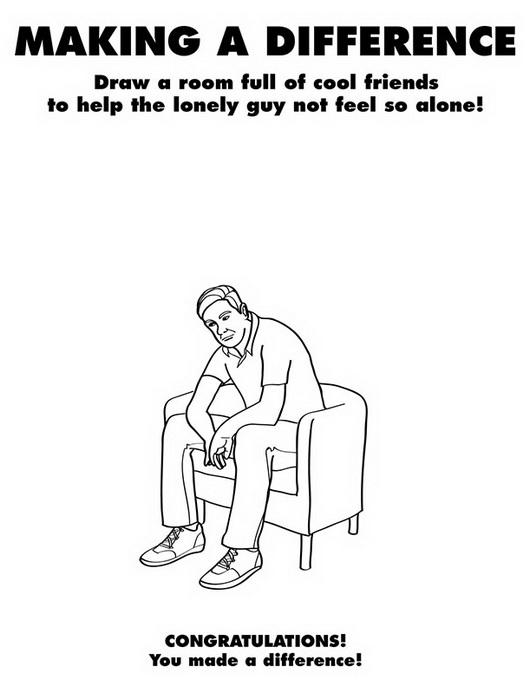 Задание: дорисуй друзей этому парню, чтобы он не чувствовал себя одиноким