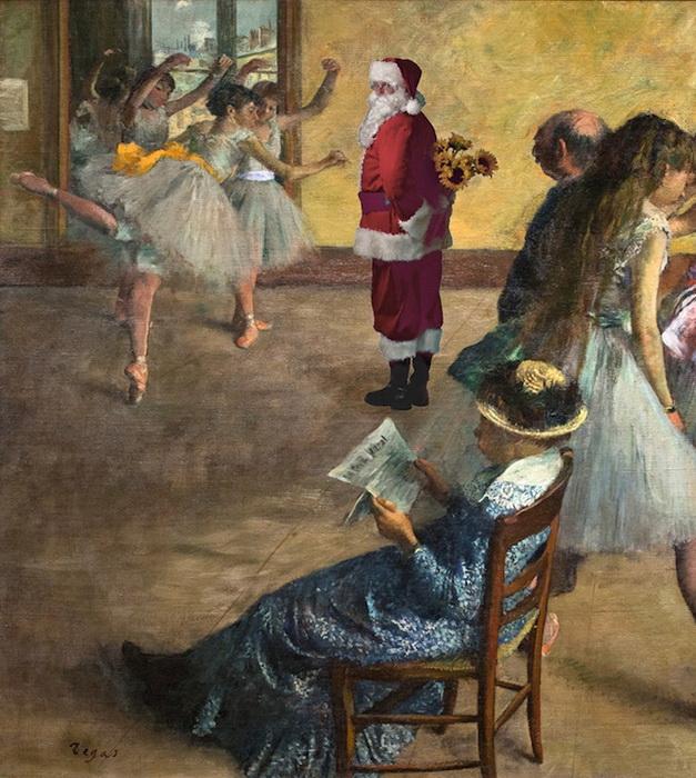Санта Клаус в балетном классе. Вариация на тему полотен Эдгара Дэга