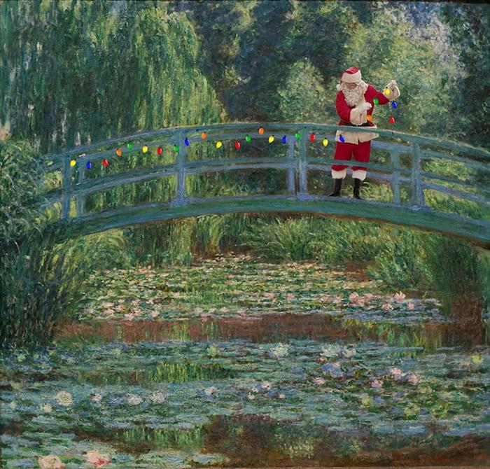 Санта Клаус у озера с кувшинками. Вариация на тему полотен Клода Моне