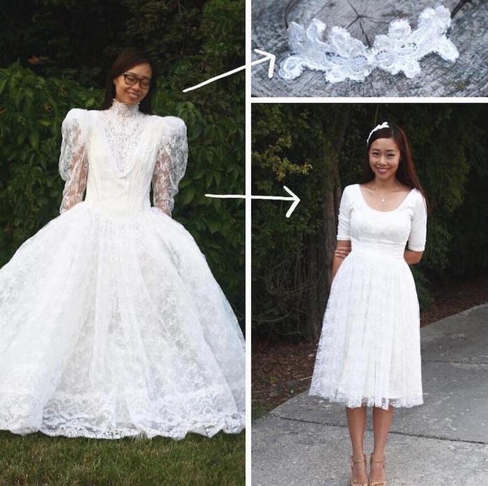 Свадебное платье из наряда для Золушки превращается в стильную модель.