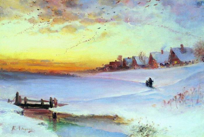 Алексей Саврасов, Зимний пейзаж, оттепель. 1890-е