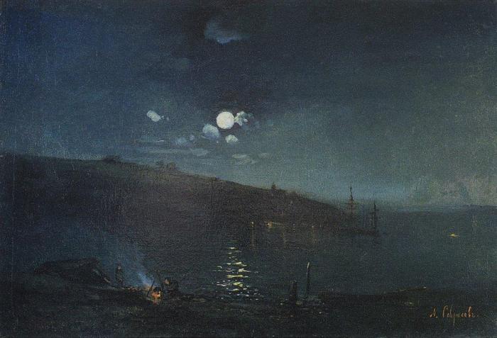 Алексей Саврасов, Лунная ночь. Пейзаж с костром, 1880-1890-е