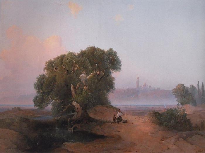 Алексей Саврасов, Вид Киева с Днепра на Печерскую лавру, 1852