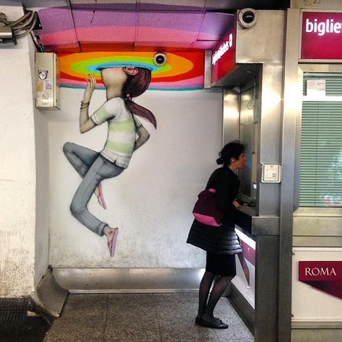 Граффити в римском метро от художника Сета Глоубпеинтера (Seth Globepainter)