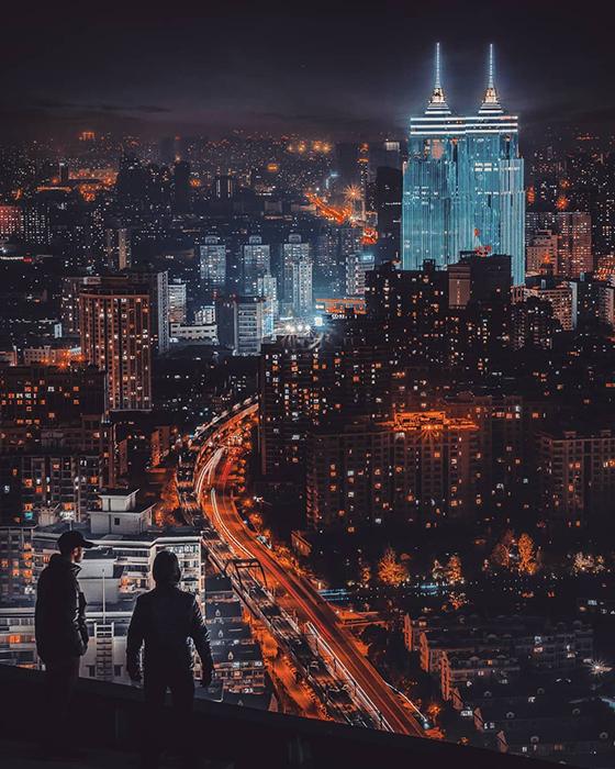 Ночной Шанхай.