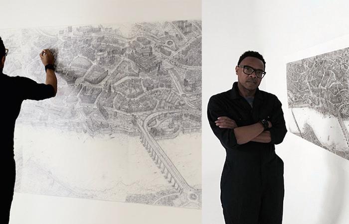 Художник с феноменальной памятью рисует города Англии обычной шариковой ручкой.