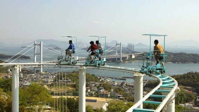Экстремальный аттракцион «Sky Cycle» в Японии