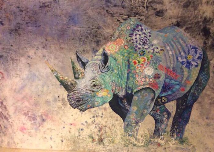 Носорог из кусочков ткани: работа художницы Софии Стэндинг (Sophie Standing)