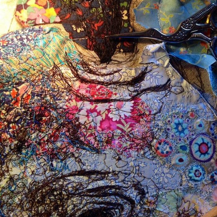 Процесс работы над лоскутной мозаикой