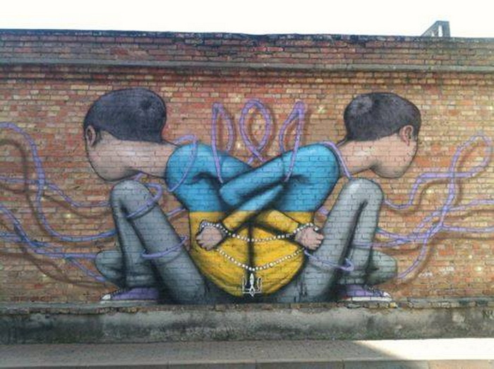 Автор граффити о ситуации в Украине - француз Жюльен Маллан (Seth)