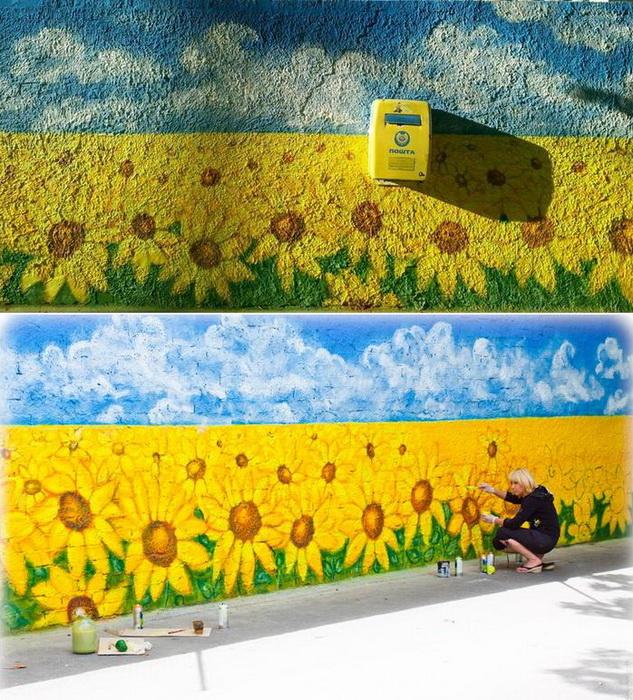 Лучшие образцы стрит-арта в Киеве: патриотичные подсолнухи