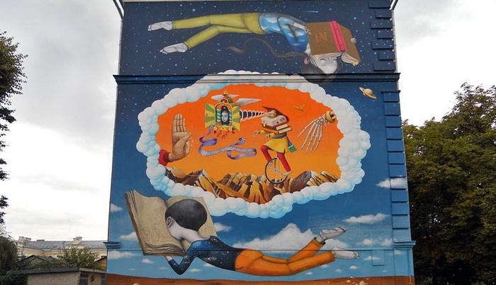 Авторы граффити - француз Жюльен Маллан (Seth) и украинец Владимир Манжос (Waone) из дуэта «Interesni Kazki»