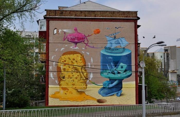 Граффити «Сновидение». Авторы - Владимир Манжос и Алексей Бордусов, дуэт «Interesni Kazki»