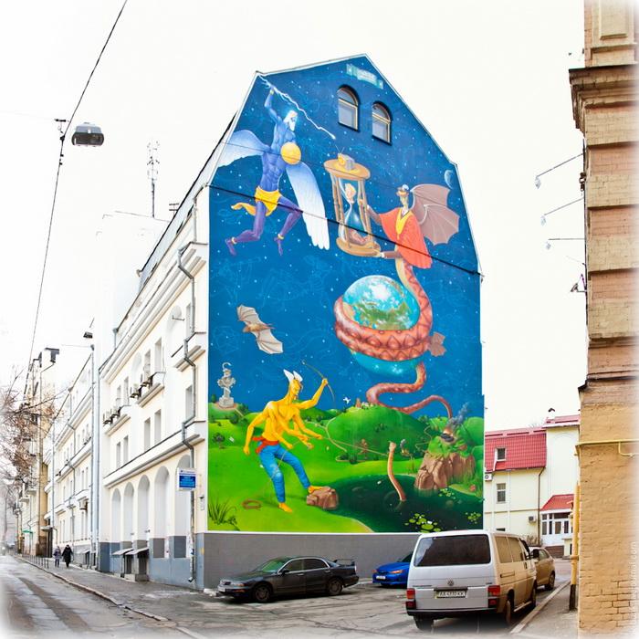 Мурал «Mission failed» от украинского арт-дуэта «Interesni Kazki»