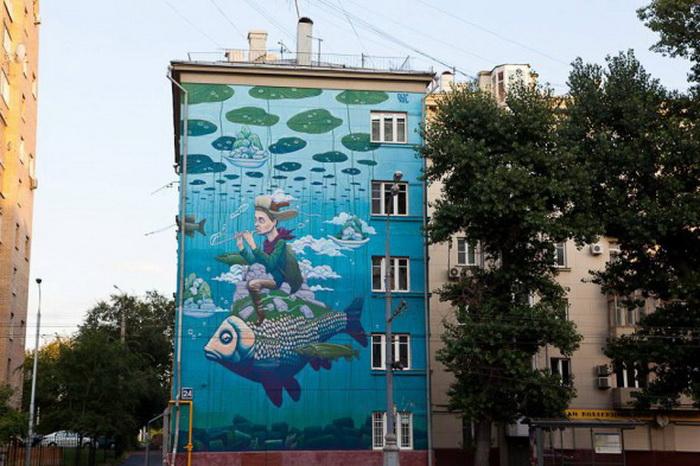 Яркий стрит-арт на улицах Москвы от Рустама Салемгараева (Qbic), Казань