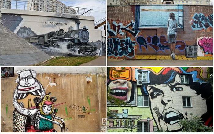 Яркий стрит-арт на улицах Москвы