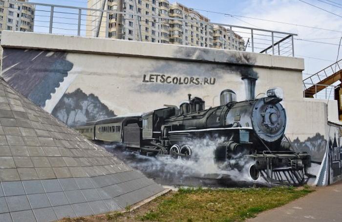 Оригинальное граффити в Москве от команды WsMar & letscolors.ru