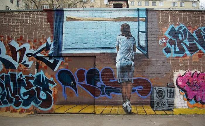 Оригинальное граффити в Москве