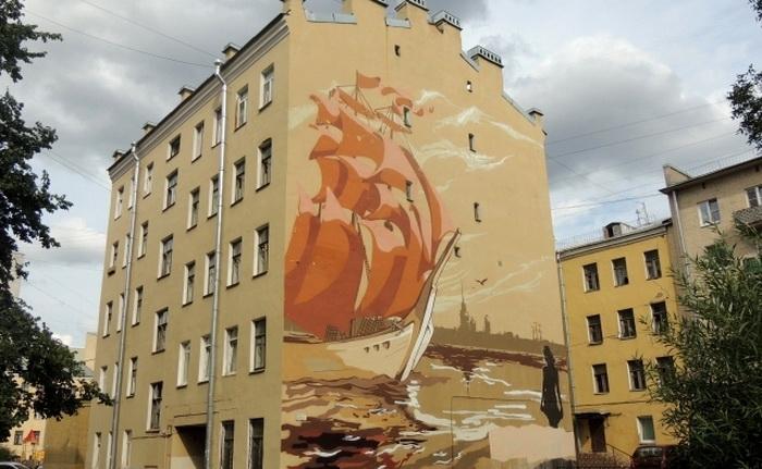 Граффити по мотивам Грина: корабль с алыми парусами на Неве