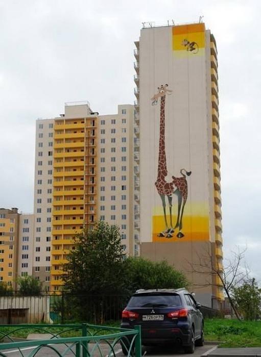 Мультяшное граффити от стрит-арт-движения 'Добро'