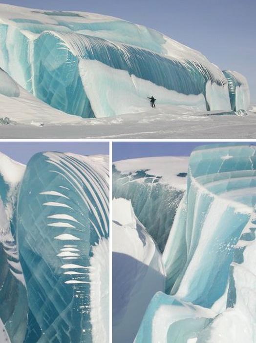 Ледник, образованный наслоениями свежего льда и сохранивший свою прозрачность