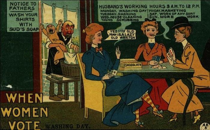 Карикатуры, на которых высмеивалась жизнь суфражисток