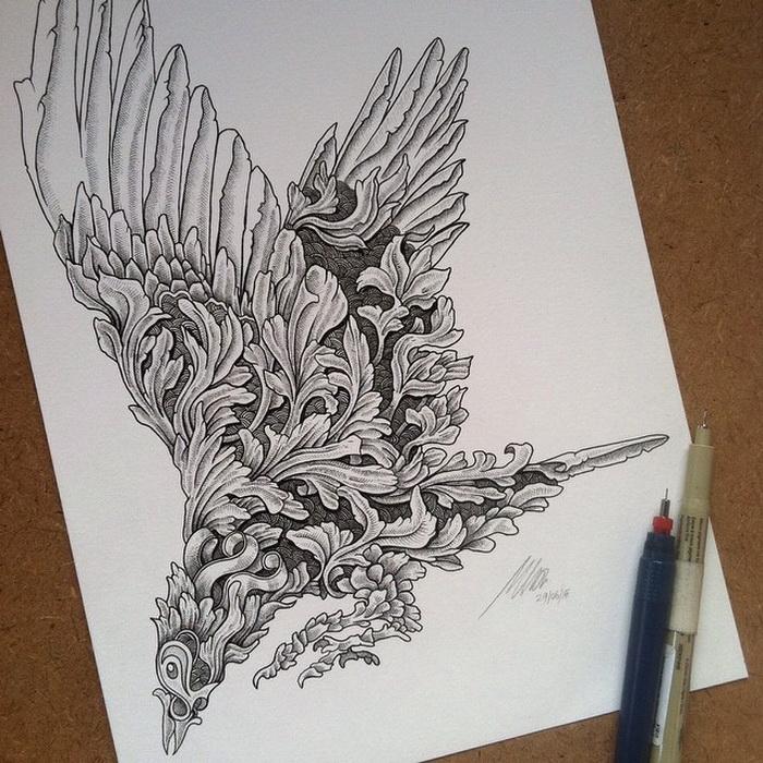 Иллюстрации, созданные в скетчбуке при помощи черной ручки
