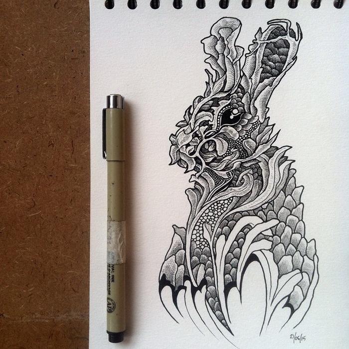 Флористическое изображение зайца