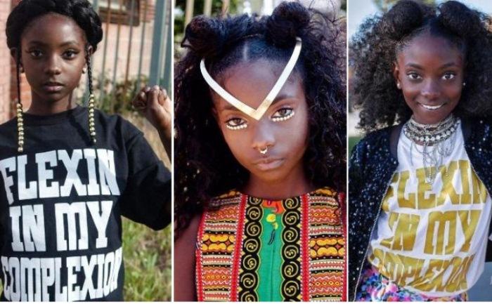 Темнокожая девочка стала дизайнером футболок *Моя сила в моем цвете лица*.