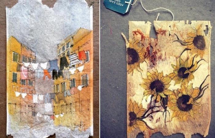 Рисунки на чайных пакетиках. Проект современной художницы Руби Сильвиус (Ruby Silvious)