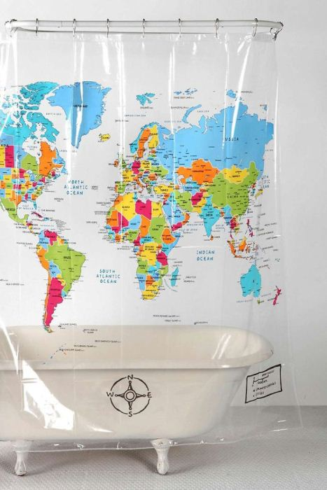 Занавеска для ванной с картой мира