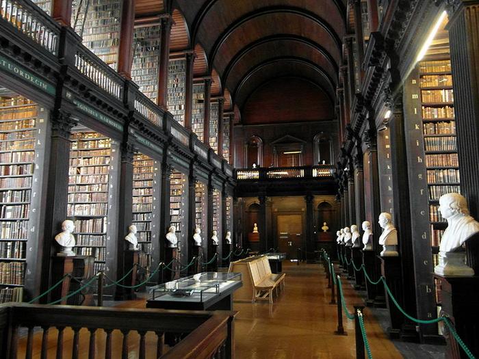Вдоль книжных стеллажей можно увидеть бюсты философов, писателей, ученых
