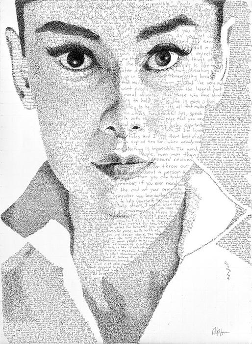 Портрет Одри Хепберн.