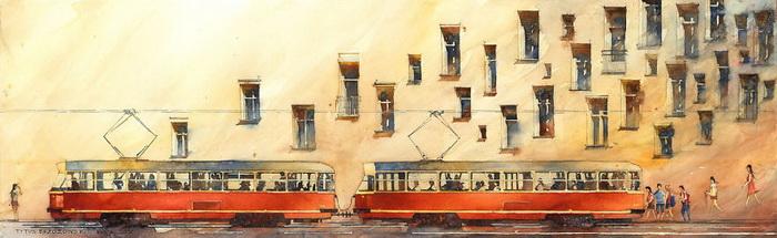 Трамвай. Акварель Титуса Бржозовски (Tytus Brzozowski)
