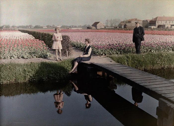 Местные жители отдыхают возле канала, за ними простираются поля тюльпанов