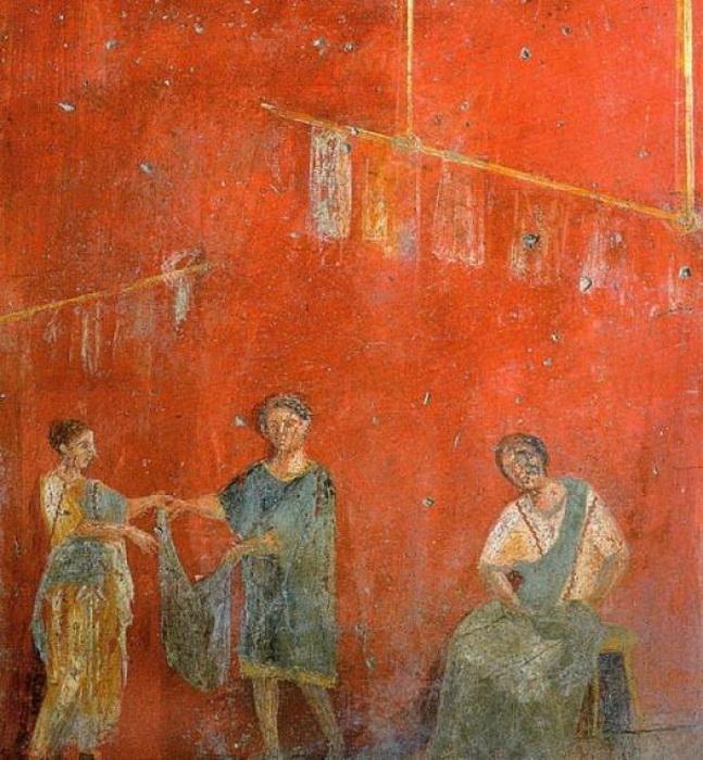 Красильщик кожи. Фреска, найденная в Помпеях