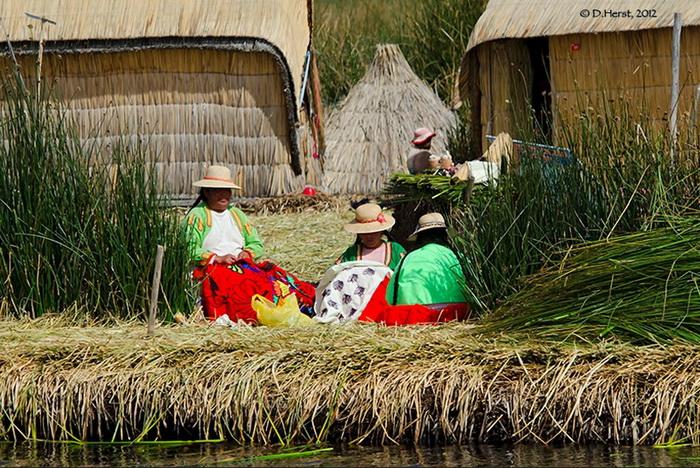 Дома на плавучих островах из тростника