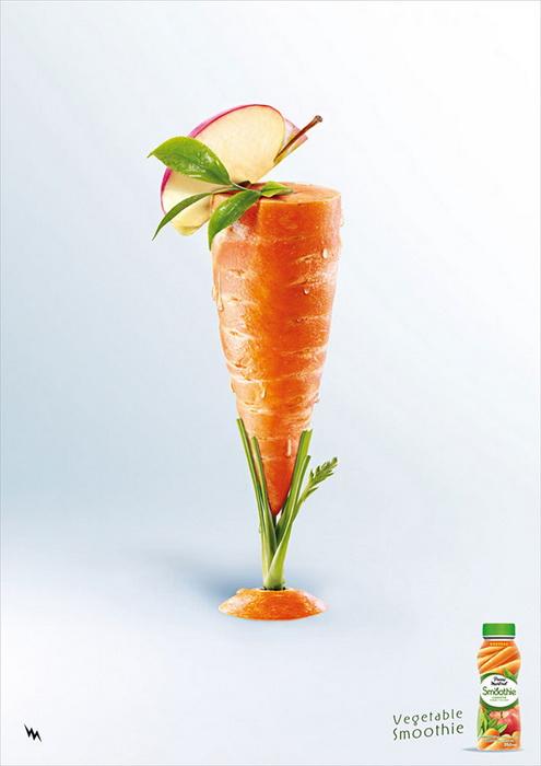Вкусные коктейли из овощей и фруктов в креативной рекламе компании Pierre Martinet