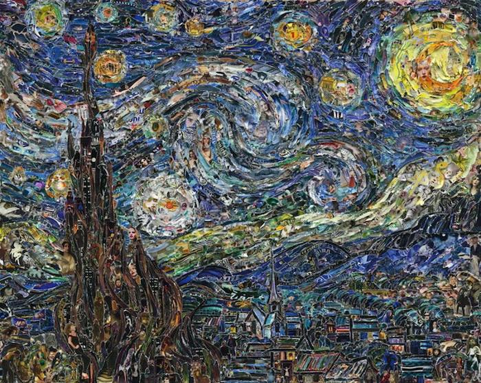 *Звездная ночь* Винсент Ван Гог. Коллаж Вика Муниса (Vik Muniz)