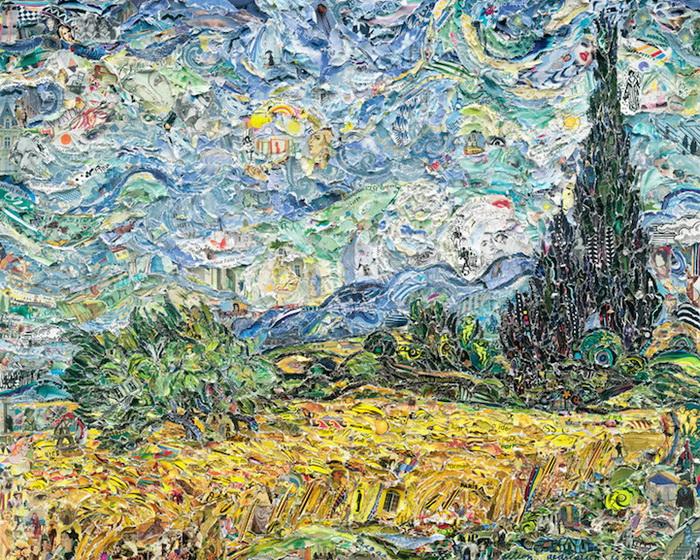 *Пшеничное поле с кипарисами* Винсент Ван Гог. Коллаж Вика Муниса (Vik Muniz)