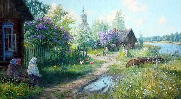 Русская деревня на картинах Владимира Жданова