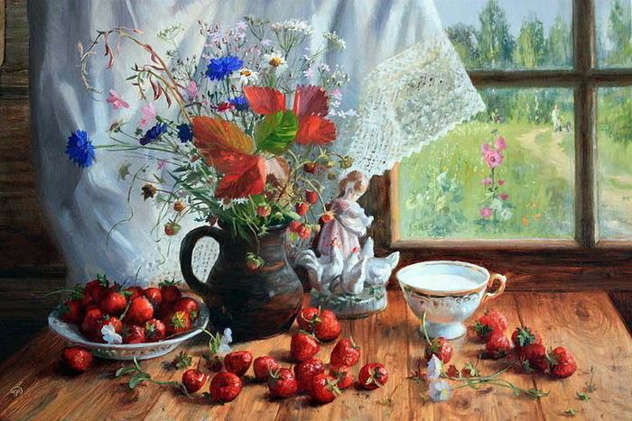 Очарование деревенского окошка на картинах Владимира Жданова
